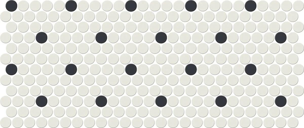 keystone blends arctic white black retro dot porcelain mosaic 1 x 1 penny round