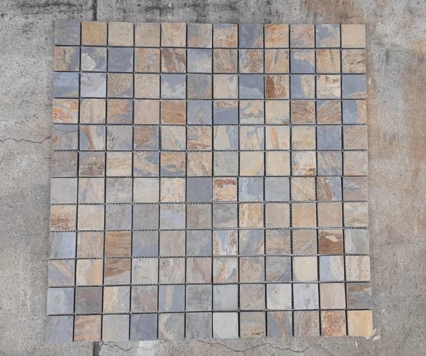 california gold slate mosaic 2 x 2