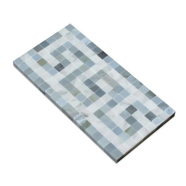 white carrara marble border 3 1 2 x 7 greek key border with blue gray