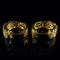 18K Gold 3 Row Huggie Hoop Earrings  Niv's Bling