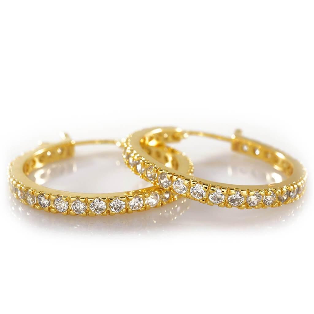 18K Gold Iced Out Hoop Earrings  Niv's Bling