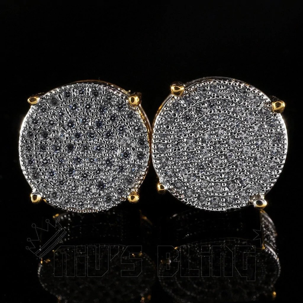 18K Gold Iced Out Round Stud Earrings  Niv's Bling