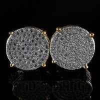 18K Gold Iced Out Round Stud Earrings  Niv's Bling