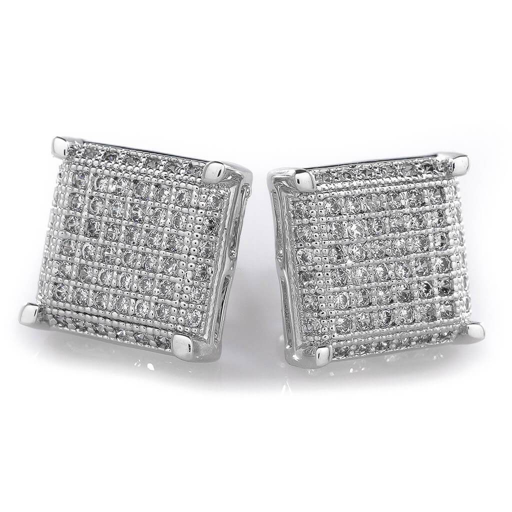 18K White Gold Framed Square Stud Earrings  Niv's Bling