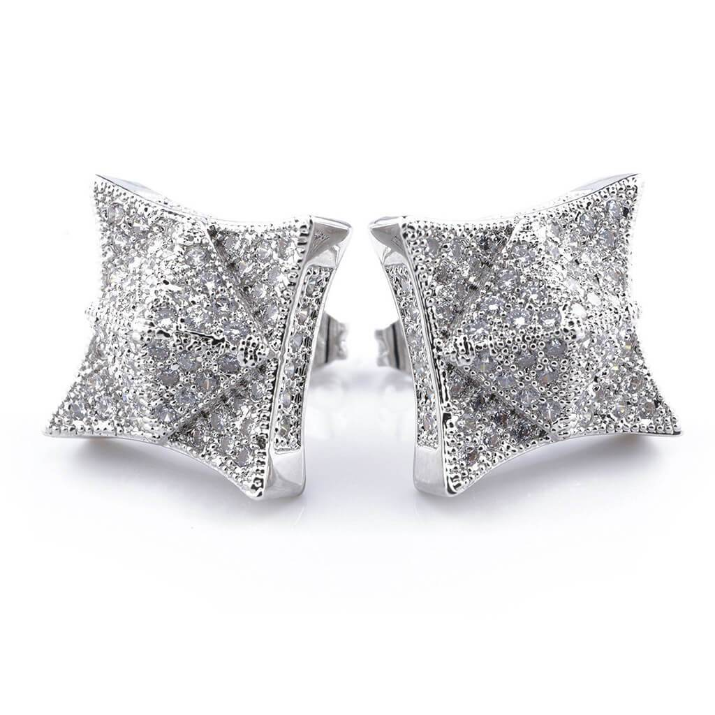 18K White Gold Iced Out Pyramid Stud Earrings  Niv's Bling
