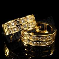 18k Gold Huggie Hoop Leverback Earring  Niv's Bling