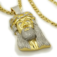 18K Gold Iced Out Jesus Piece With Figaro Chain  Niv's Bling