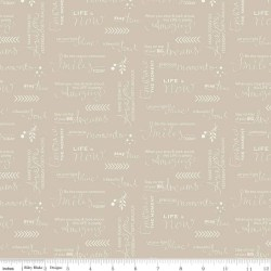 SALE Moments Quotes Tan Riley Blake Designs Text Words Positive Sa Cute Little Fabric Shop