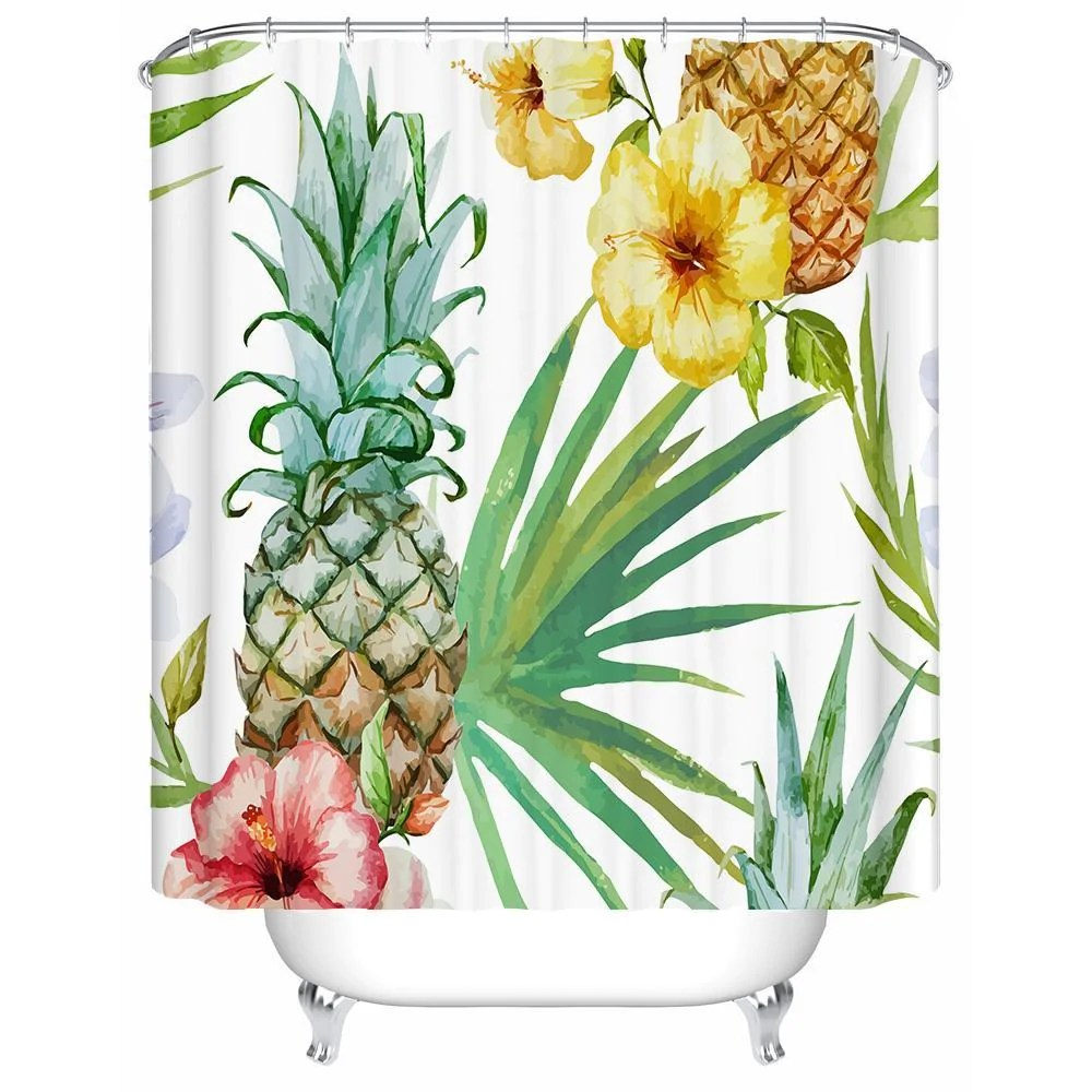 tropical pineapple shower curtain