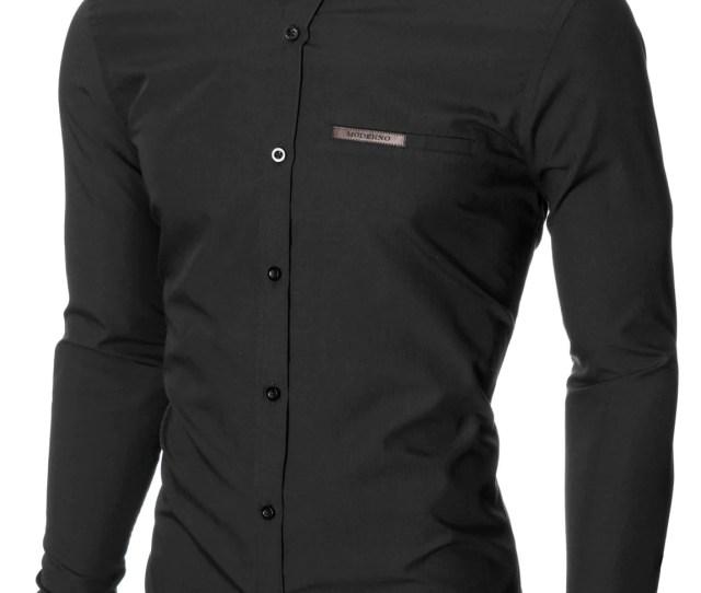 Mens Dress Shirt Black Modls Moderno