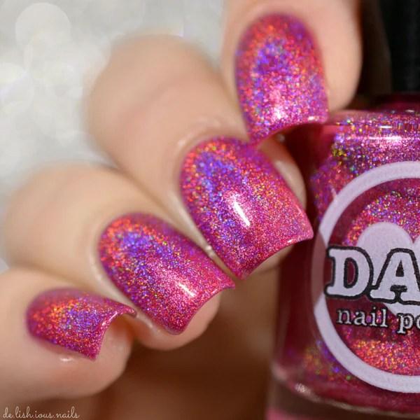 garnet - red pink holographic polish