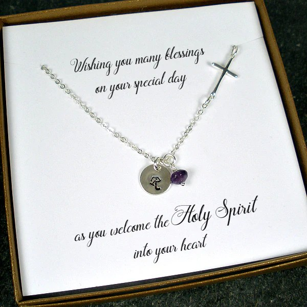 First Communion Confirmation Gift For Girl Cross Initial