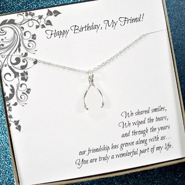 Friend Birthday Gift Wishbone Necklace Friendship
