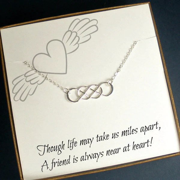 Long Distance Friend Gift Infinity Friendship Necklace
