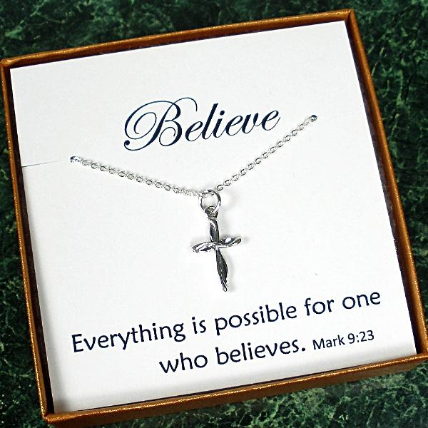 Unique Christian Gifts Small Cross Necklace Sterling