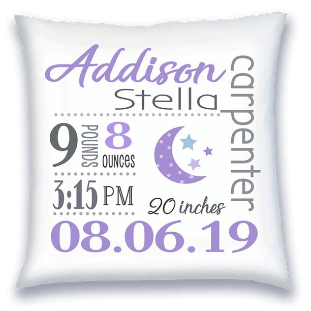 personalized birth announcement pillow baby girl moon stars lilac grey