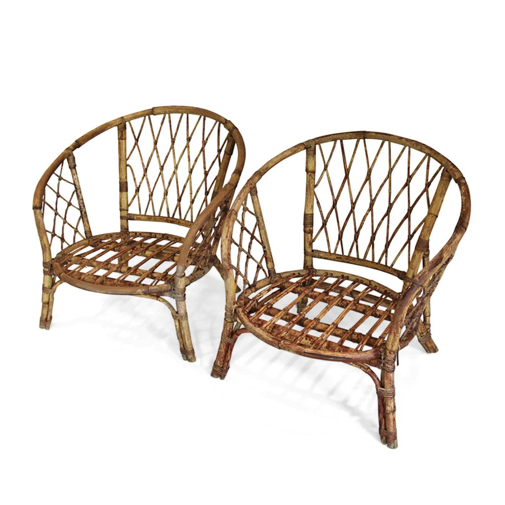 Bamboo Chairs Pair Of Bamboo Chairs