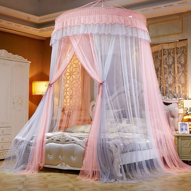 princess bed canopy kids baby bed room canopy curtain bedding dome tent pink gray average size united states