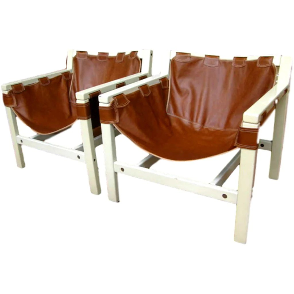 Safari Chairs 1970s Italian Design Pair Of Safari Brown Leather And White Lacquered Chairs