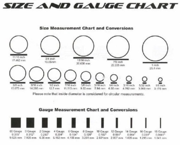 Size Chart for Gauged Earrings Western Bohemian Western