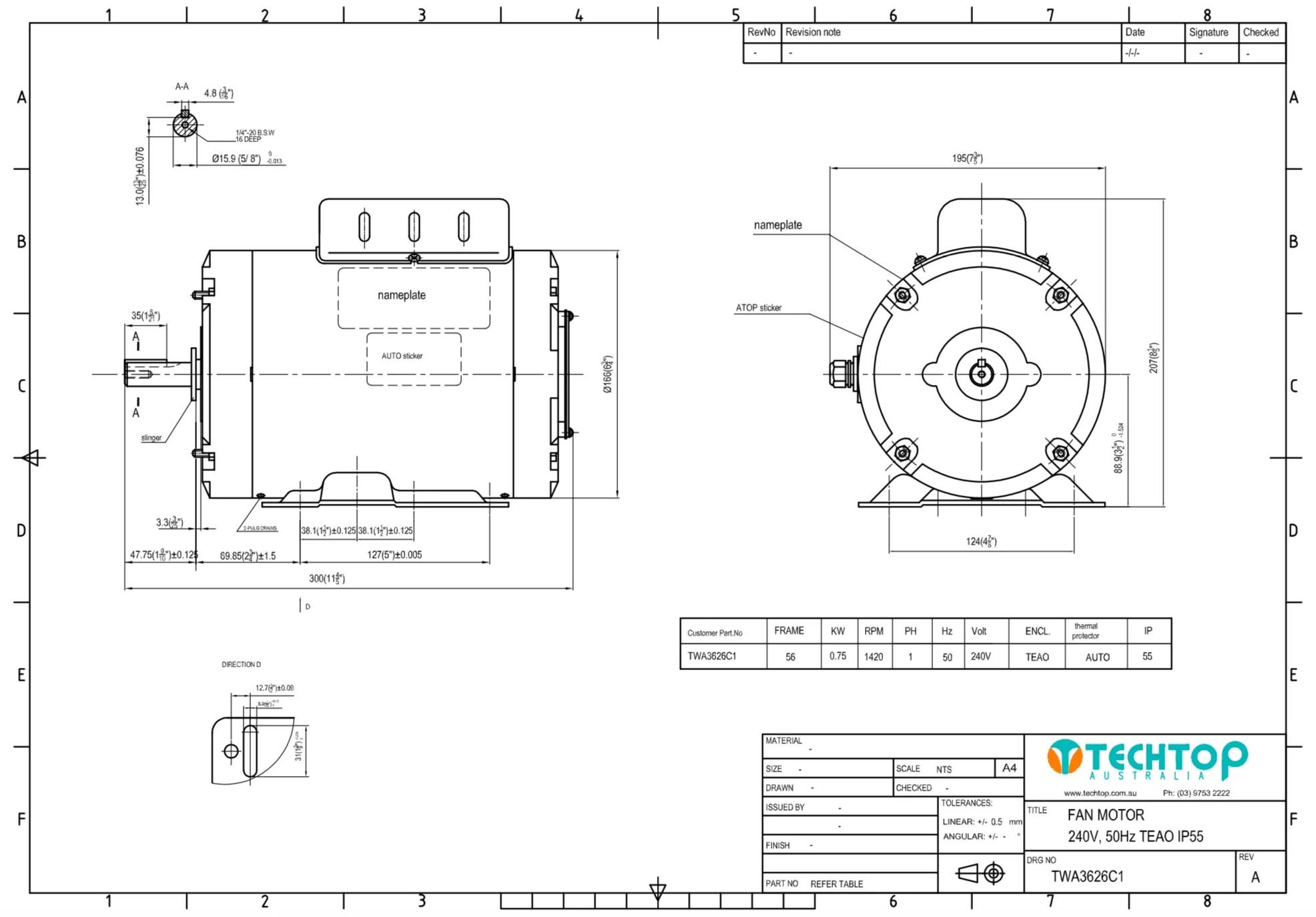 fan motor 0 75kw 1420rpm 240volt single phase psc 5 8 shaft teaom ip55 reversible [ 1972 x 1374 Pixel ]
