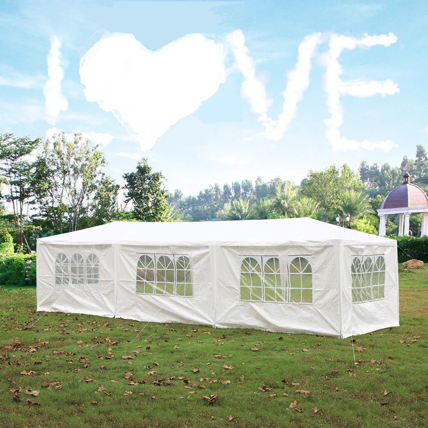 mcombo 10 x30 outdoor canopy tent waterproof gazebo pavilion 8 removable walls 6053