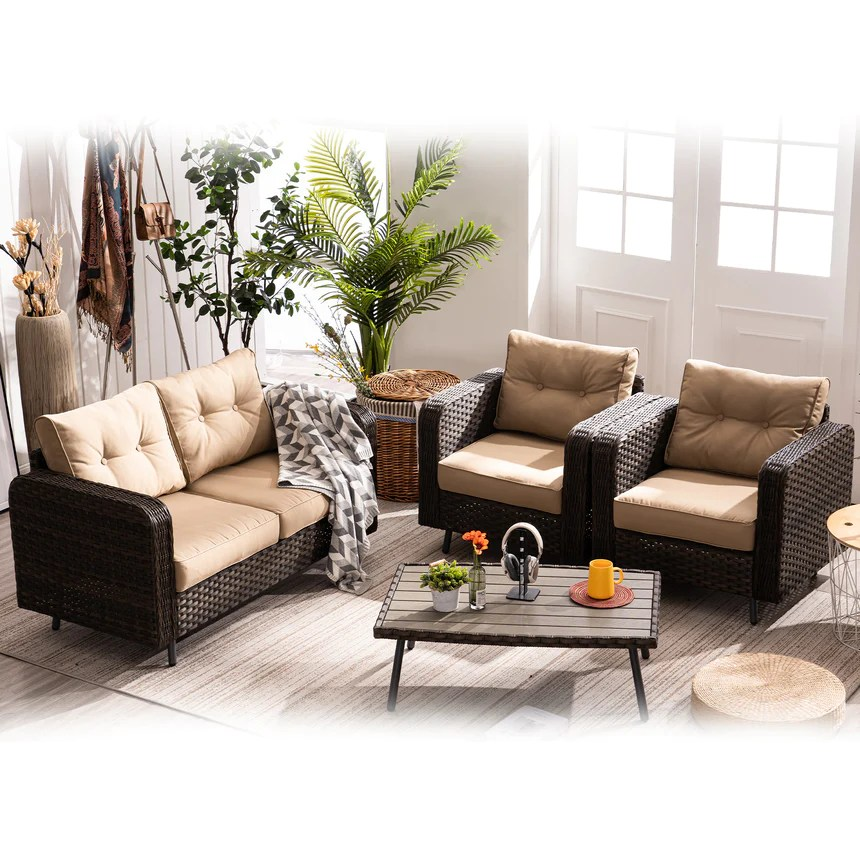 mcombo 4 piece outdoor patio furniture sets brown wicker patio conversation set with cushions and coffee table rattan patio furniture sofa set for