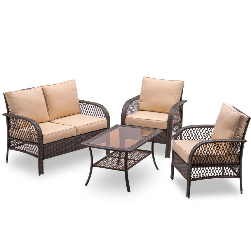 mcombo wicker patio furniture sofa set 4 pieces outdoor wicker chair cushioned lounge loveseat all weather lawn mix gray brown rattan conversation