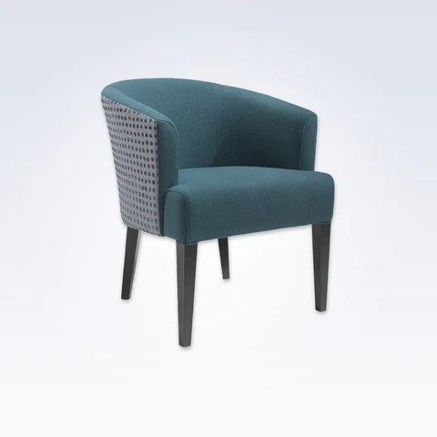 large tub chair bungee blue hotel chairs bespoke lugo bianca fabric with rounded backrest and tapered legs 2038 tc1