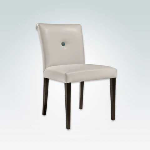 chair design restaurant navy blue sashes dining chairs lugo donatella cream leather scroll back with one button detail and dark tapered legs