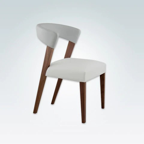 chair design restaurant ergonomic argos dining chairs lugo elli white leather room with curved backrest and show wood frame 3069 rc1