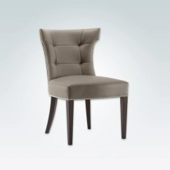 Chair Design Restaurant Office Kota Kinabalu Dining Chairs Lugo Joule Tan Leather Taupe Hammer Backrest Curved Back Legs With Deep Button Panel