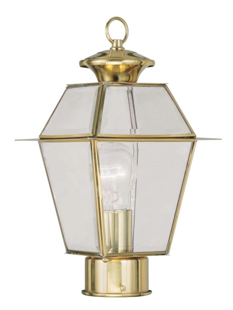 livex westover 1 light pb outdoor post lantern c185 2182 02 gallery chandeliers