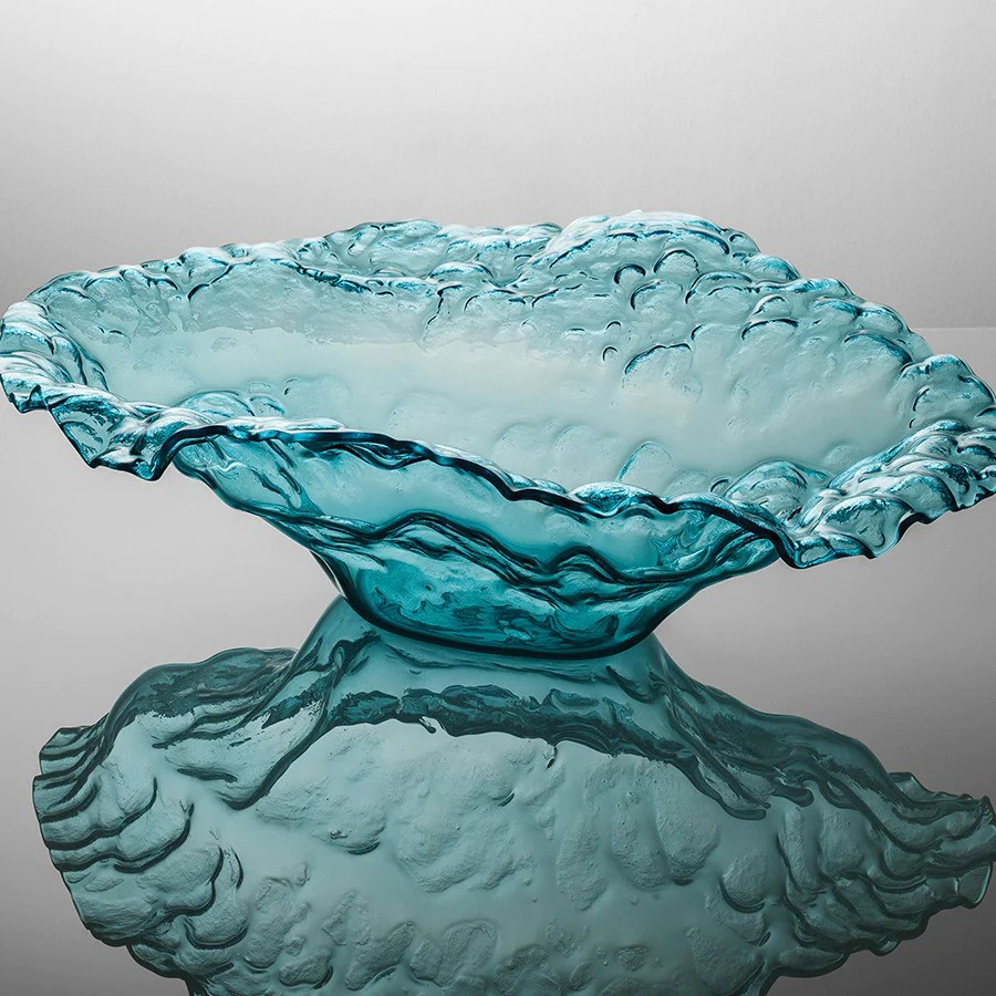 Handcrafted Glass Water Sculpture Bowls Home Decor