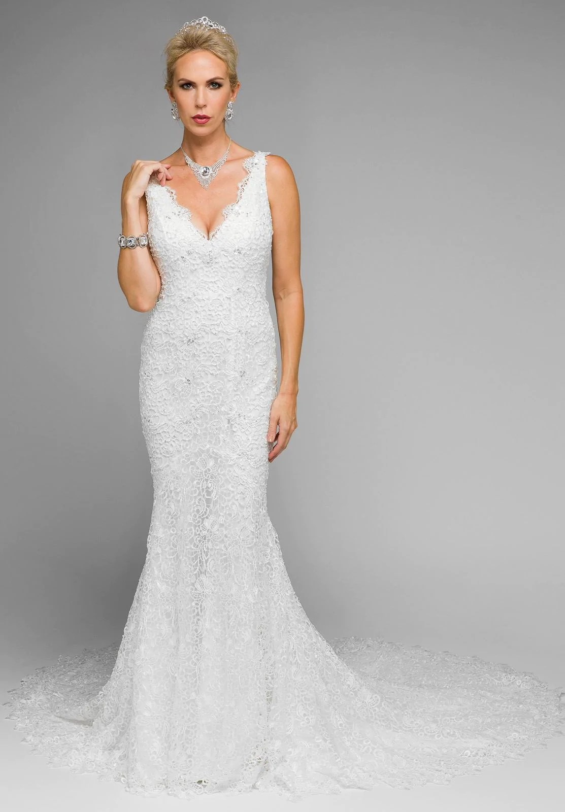 Juliet 341 Plunging Neck Fitted Mermaid Style Lace Wedding Dress  DiscountDressShop