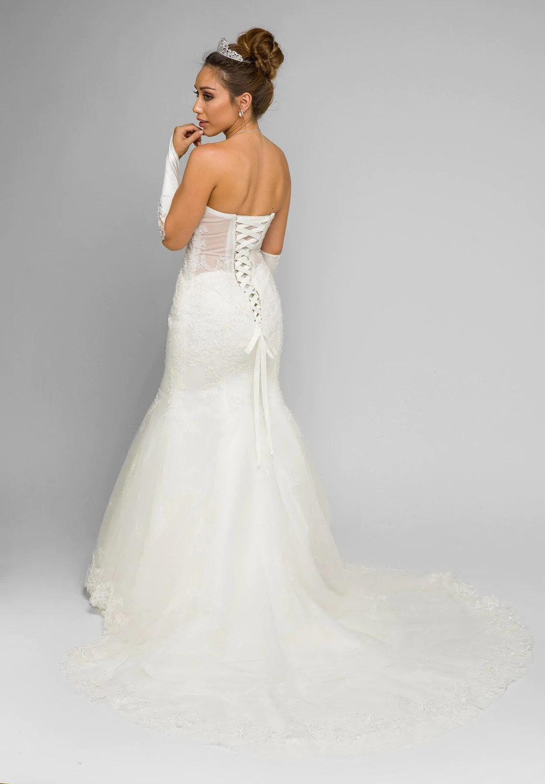 Juliet 348 White Mermaid Style Wedding Gown With Sheer