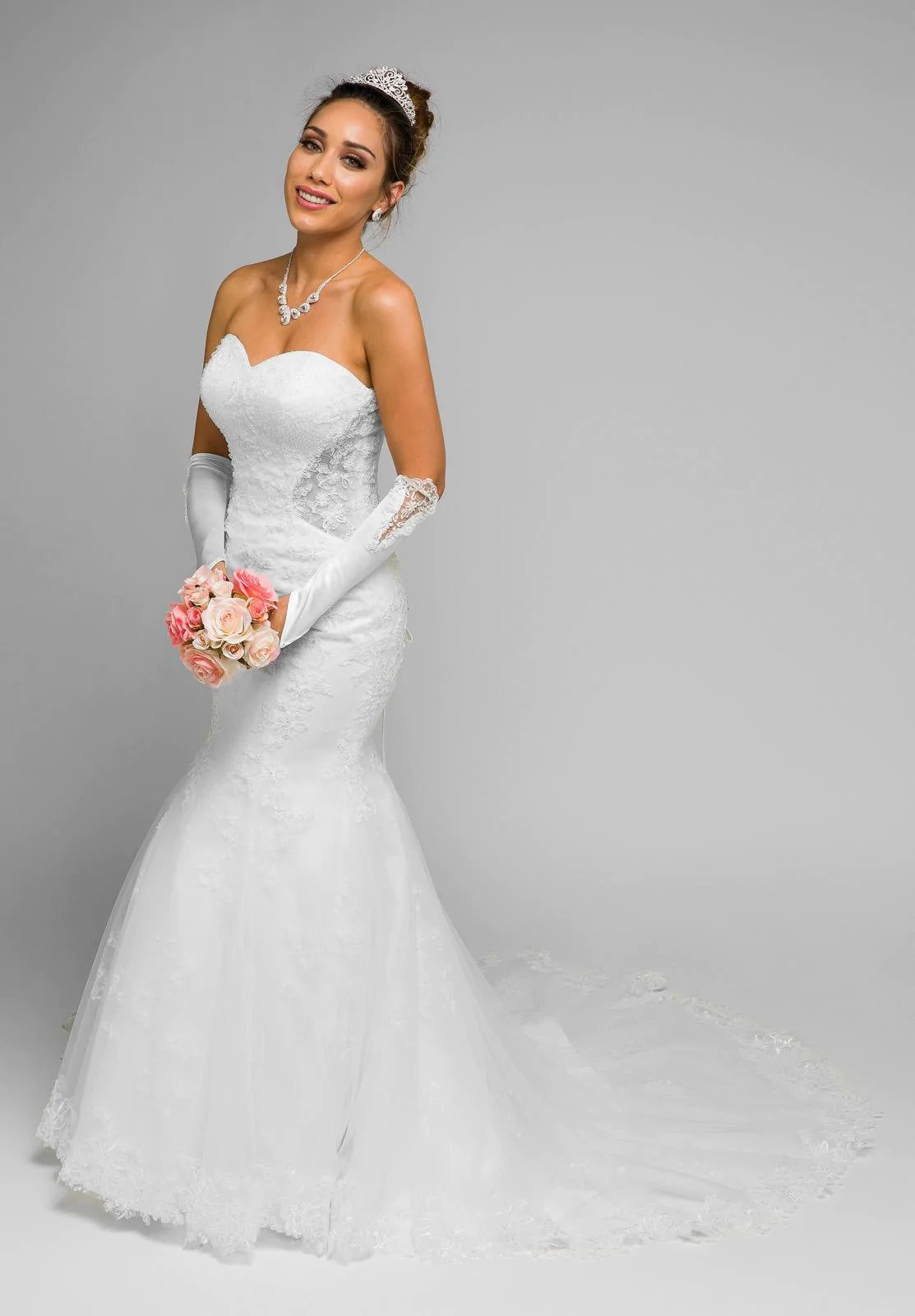 Juliet 348 Ivory Mermaid Style Wedding Gown With Sheer Side Cut Out  DiscountDressShop
