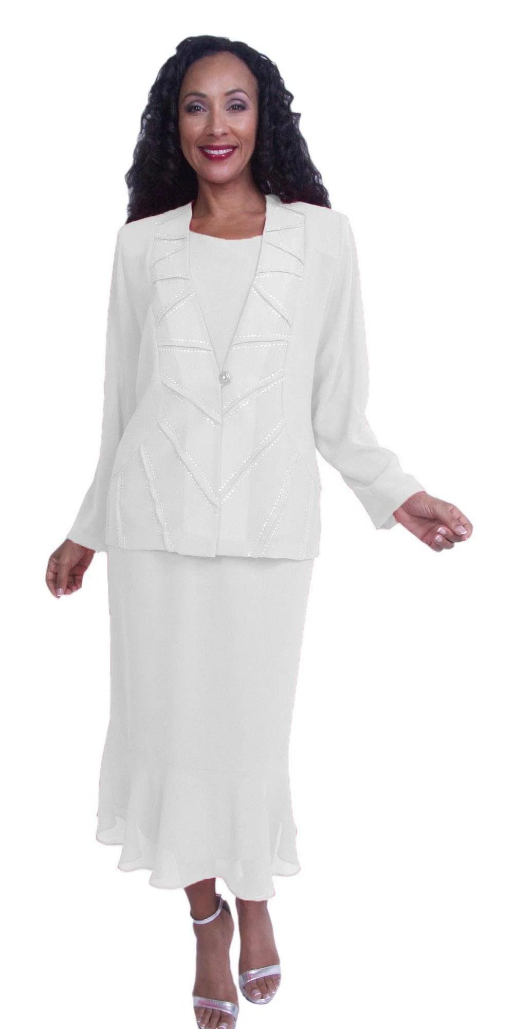 White Long Sleeve Tea Length Dress