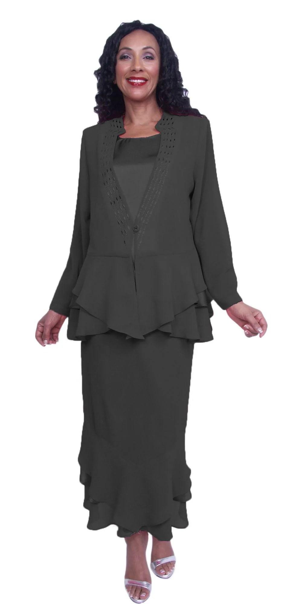 Hosanna 3878 - 3 Piece Tea Length Church Dress White