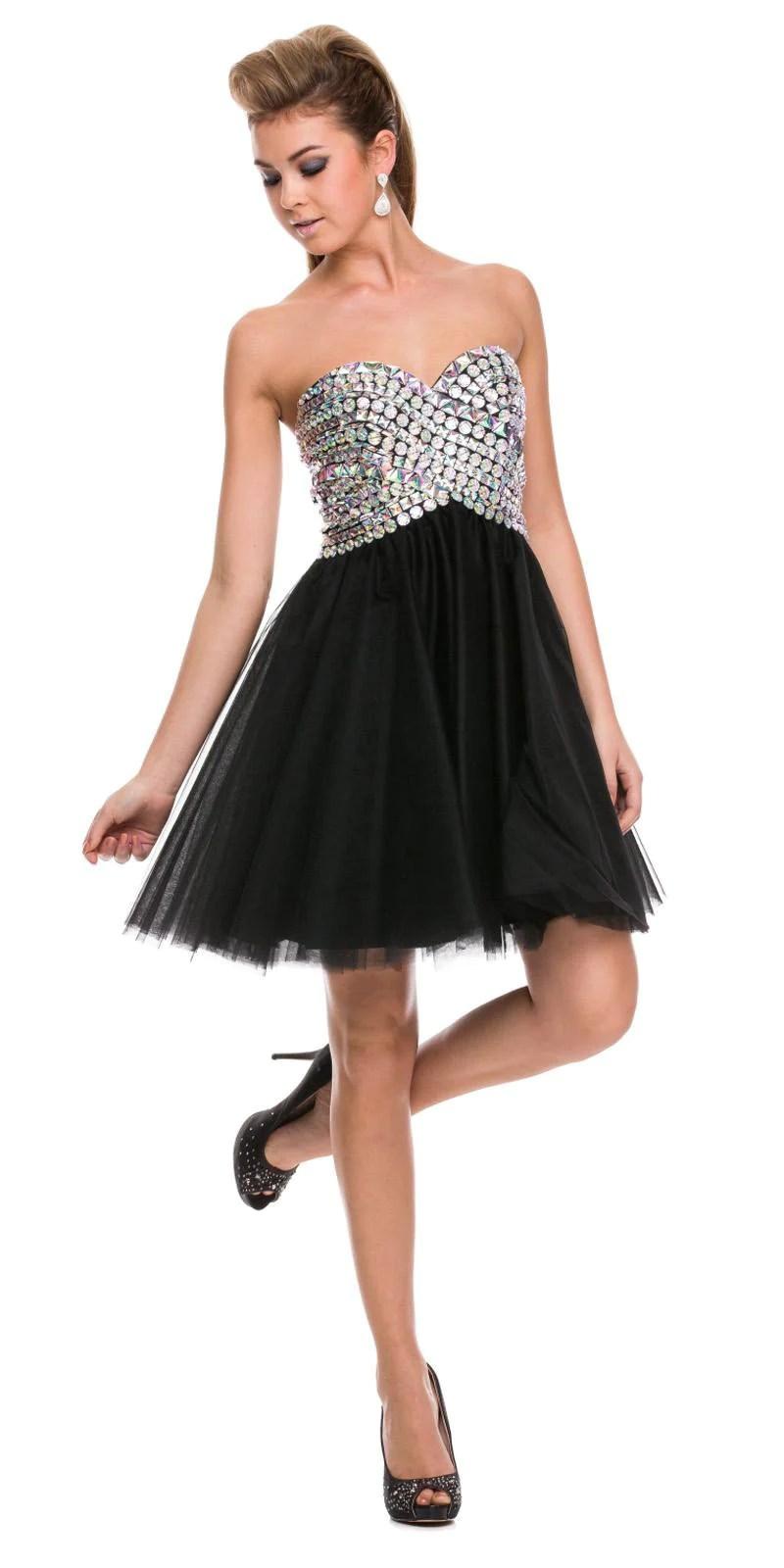Sweetheart Neckline Strapless Short Prom Dress Rhinestone