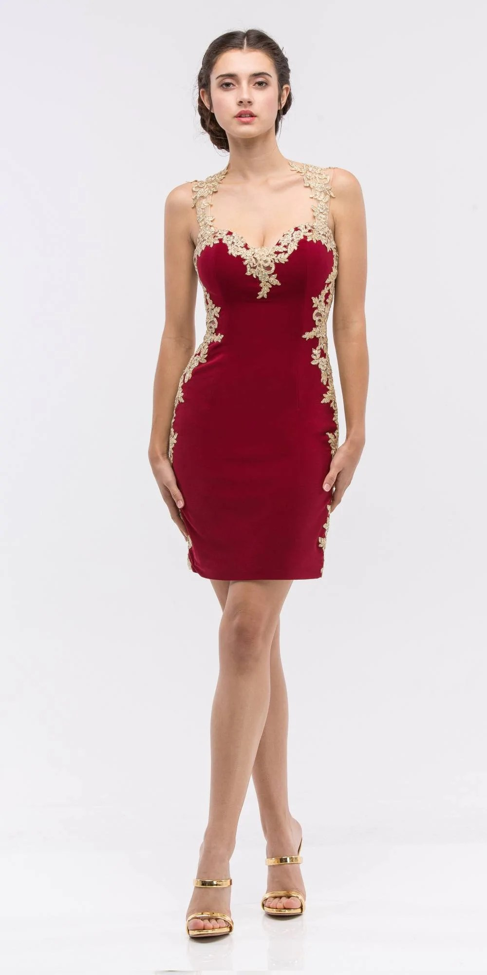 Red and Gold Short Prom Dresses