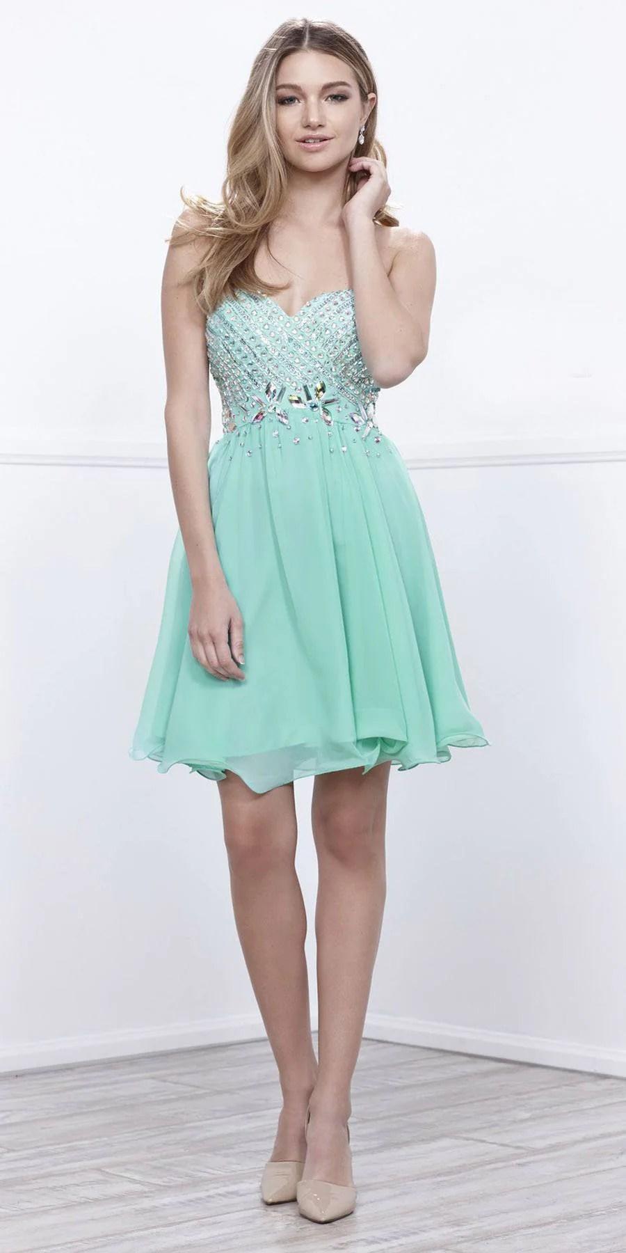 Mint Green Short Homecoming Dresses