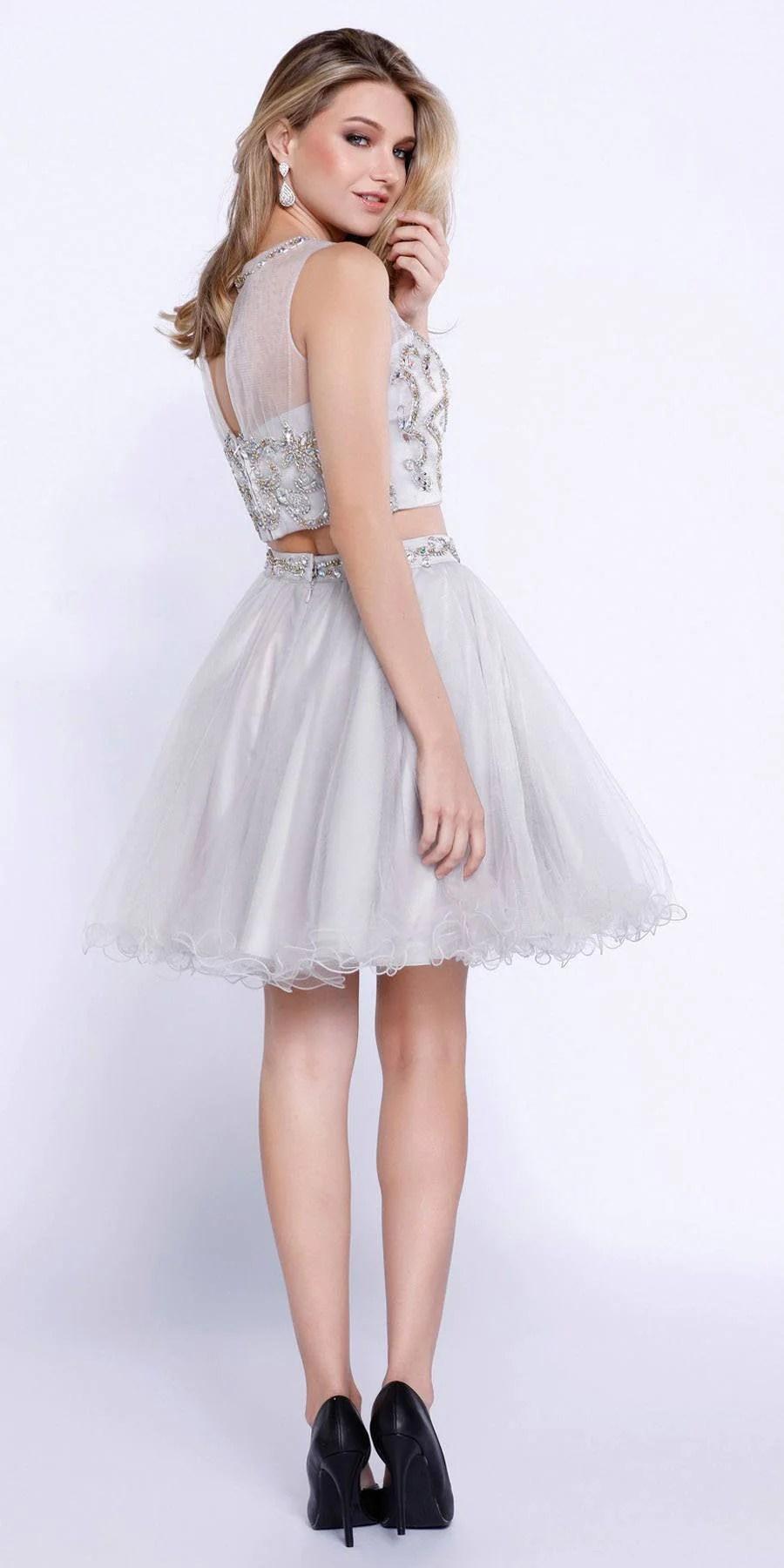 Silver TwoPiece Short Prom Dress Illusion Neckline Cut Out Back  DiscountDressShop