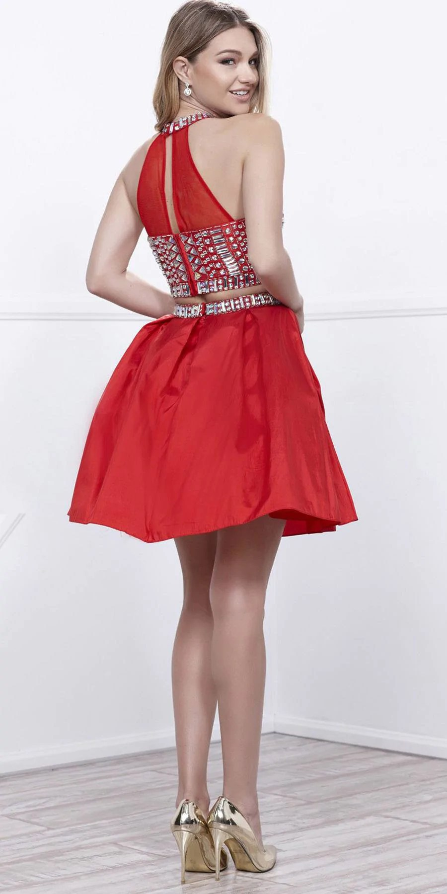 Two Piece Beaded Prom Dress Short
