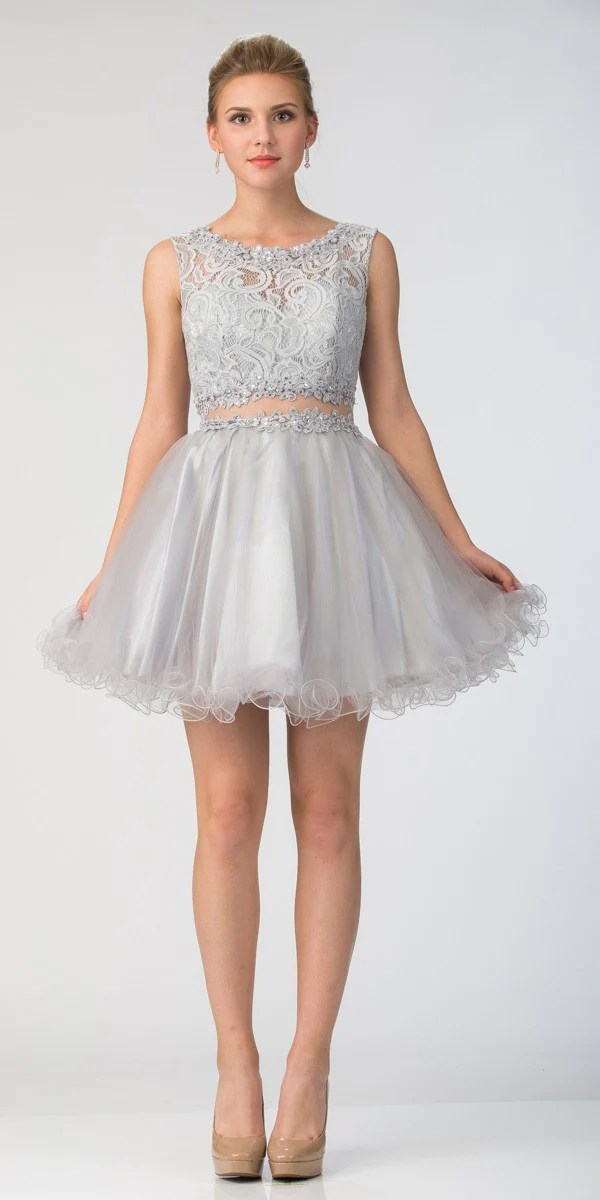 Starbox USA Mock TwoPiece Sleeveless Short Prom Dress Silver  DiscountDressShop