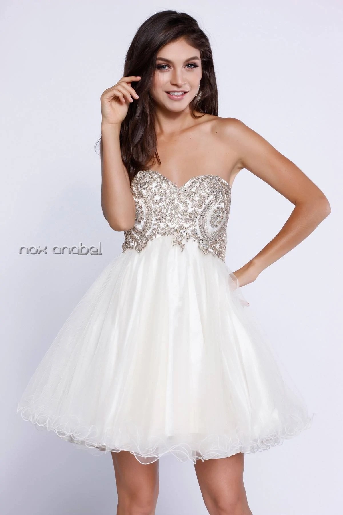 Strapless Poofy Homecoming Short Dress Appliqued Bodice