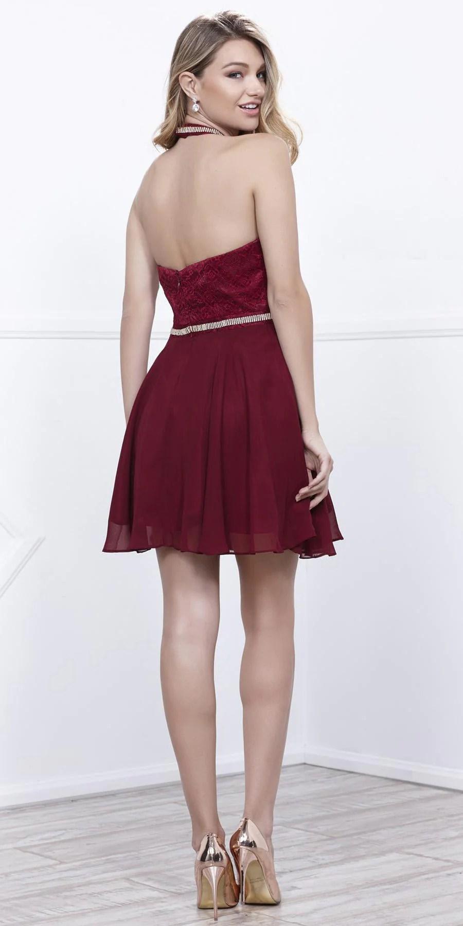 Short Embellished Homecoming Dress Maroon Halter