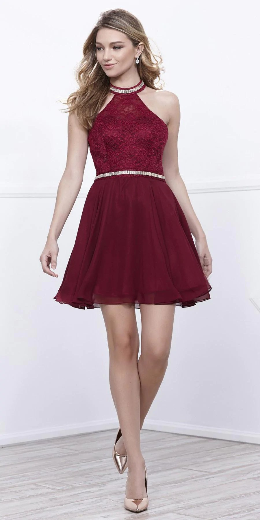 Embellished Halter Homecoming Dress Short