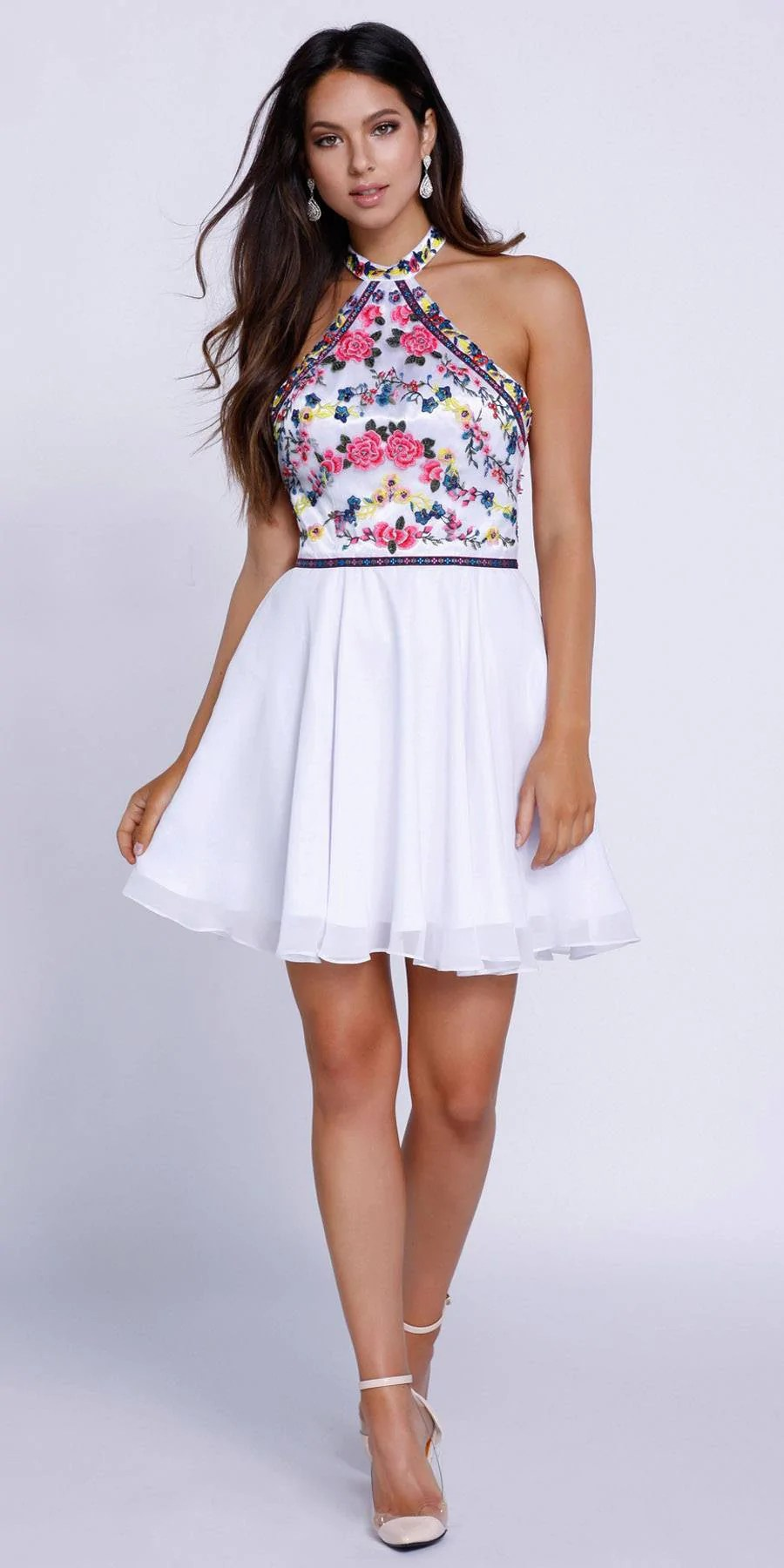 Floral Halter Top Homecoming Dresses