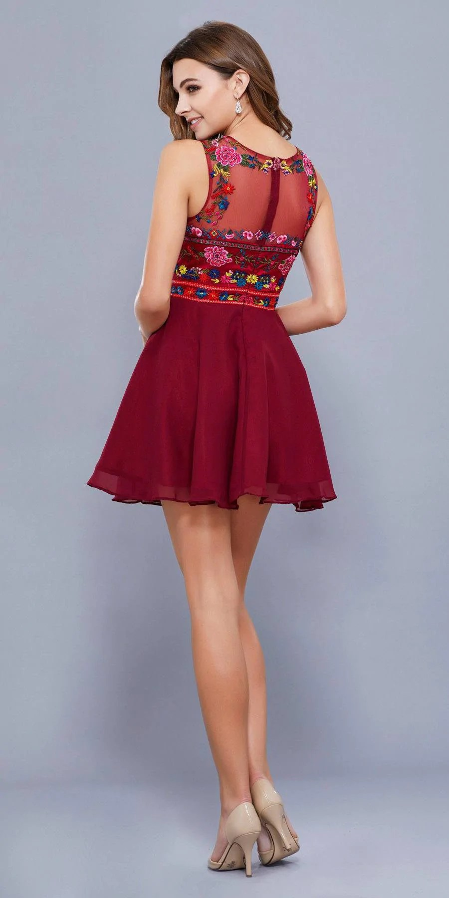 Floral Embroidered Short Prom Dress